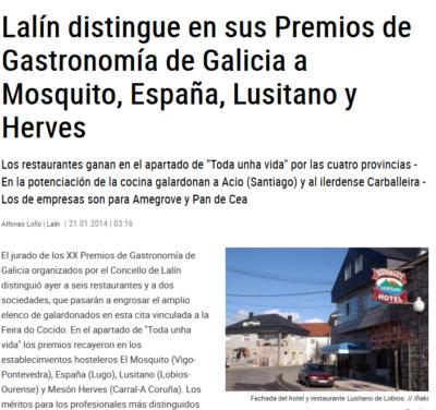 Restaurante Lusitano - Faro de Vigo - Premio Gastronomía